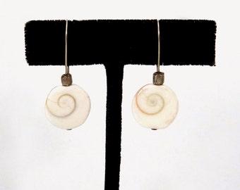 Snail Shell Earring - Pacific Cats Eye - Rustic Shell Dangle - Boho Shiva Shells - Organic Beach Jewelry - White Snail Shell - Turban Snail