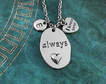 Always Necklace, Heart Necklace, Custom Valentine's Day Gift, I Love You Necklace, Heart Pendant, Heart Charm Necklace, Anniversary Gift