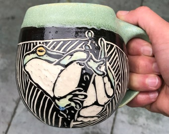 Sgraffito Frog Pottery Mug in Green White and Black