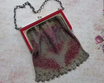 Antique Art Deco Whiting and Davis Handbag with Baby Mesh and Silk Screened Dresden Design, Small Purse with Silver Frame in Red Enamel