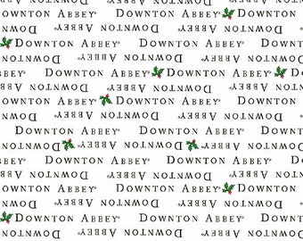 Downton Abbey Christmas Fabric by Andover - Downton Abbey Logo - Black and White Fabric by Andover Fabrics  A 7805 K -  100% Cotton Fabric