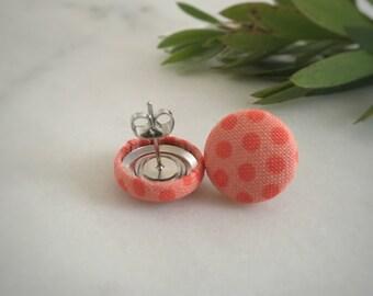 Orange Earrings. Dots on Apricot Fabric. Handmade Earrings. Fabric Covered Button Earrings. Stud Earrings. Clip On Earrings.