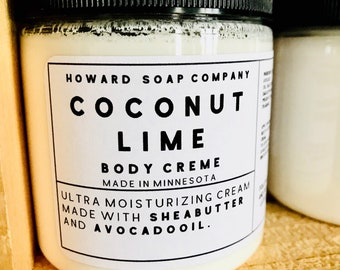 COCONUT LIME Body Creme>> shea butter/avocado oil/minnesota made
