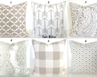 TAN PILLOWS Tan  Pillow Covers Taupe Ecru Buffalo Check Pillow Covers Khaki Plaid Pillows 16 18x18 20 All Sizes. Home Decor