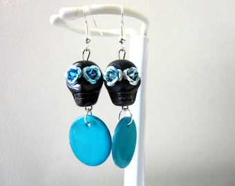 Day of the Dead Earrings Sugar Skull Jewelry Black Teal Blue