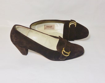 Vintage Bally Pumps Brown Suede Made In Greece Size 35