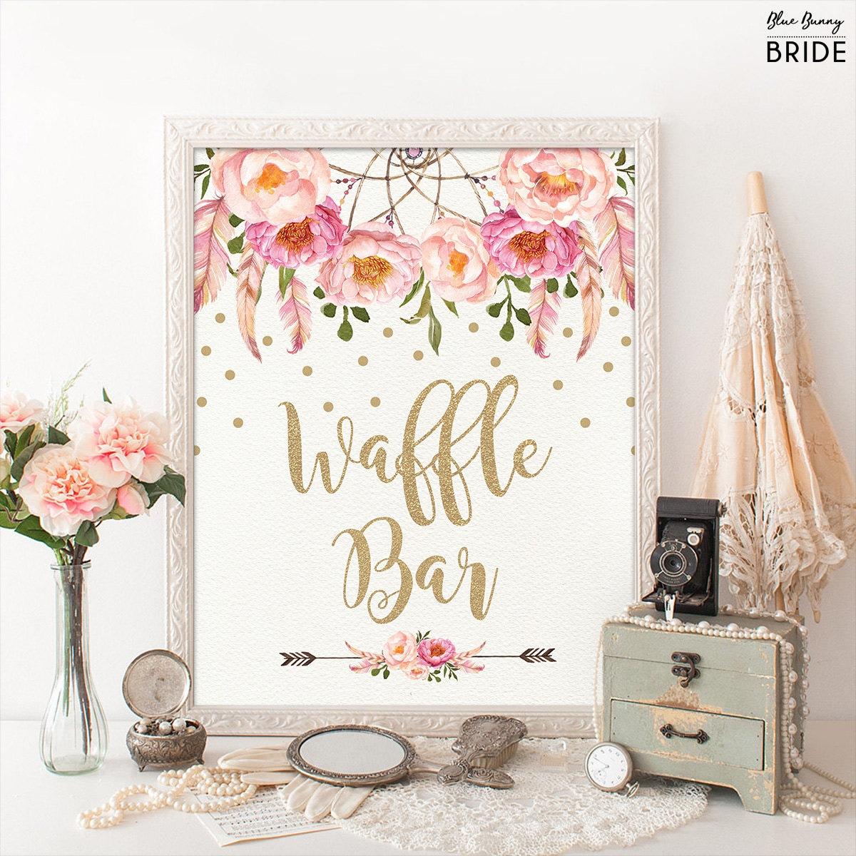 WAFFLE BAR Sign. Pink and Gold Boho Bohemian Bridal Shower