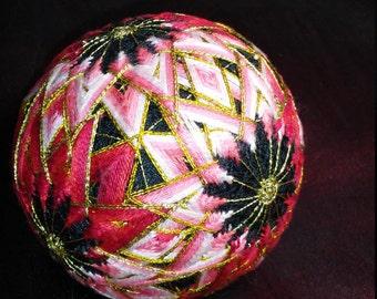 SOLD Red and White Poinsettia kiku Temari