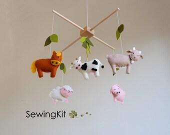 baby mobile kit, diy baby mobile, farm animal mobile, mobile kit, farm animals, felt goat. horse, pig, felt cow, sheep, country life mobile,