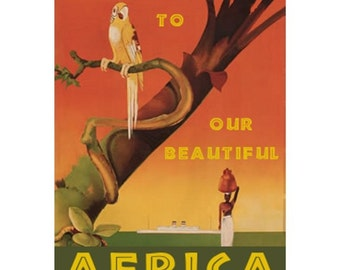 AFRICA 1-Handmade Leather Postcard / Note Card / Fridge Magnet - Travel Art