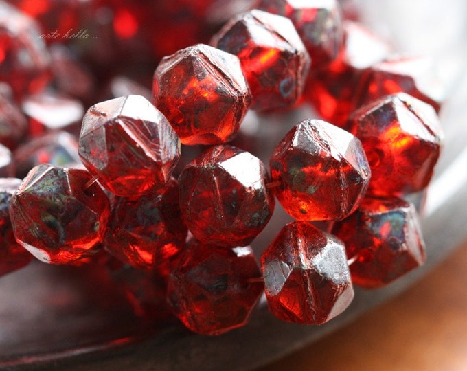 RUBY TREASURES .. 10 Picasso Czech Glass English Cut Beads 10x9mm (4530-10)