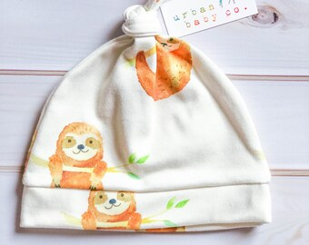 100% Organic Cotton Baby Top Knot Hat, Cap, Sloths, Woodland, Outdoors, Jungle
