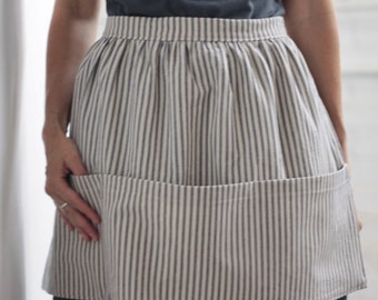 Apron with Pockets, Apron for Women, Ticking Stripe, Kitchen Apron, Blue, Cotton, Cooking, Gardening, Art