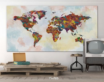 World Map, Watercolor, Canvas, Extra Large World Map, Canvas Print, Abstract Art, Push Pin World Map, Travel Map, Rustic Wall Hanging-865