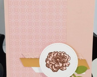 Sympathy, Copper Embossed flower on Pink