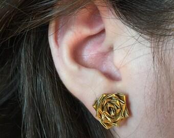 Flower Earrings in Gold Duct Tape