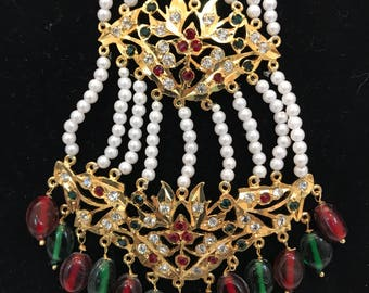 Indian head gear, Hyderabadi Passa, Passa Tikka, Maang Tikka, Jhumar, indian Bridal Jewelry