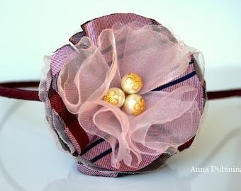 Organza Flower Headband, Pink Flower Headband Big Girl Headband Vinose Organza Flower Headband Dressy headband, Birthday Gift. Fabric flower