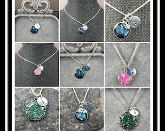 Memorial Ash Semi Colon Pendant Necklace/Memorial Necklace/Memorial/Cremation Necklace/Pet Memorial Jewelry/Pet Memorial Jewelry/100+Colors