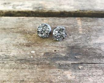 Gray Druzy Stud Earrings