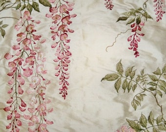 COLEFAX & FOWLER WISTERIA Embroidered Silk Fabric 10 Yards Pink Rose Green Cream