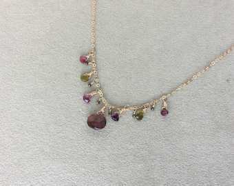 Tourmaline Pyrite Bib necklace, 14KT Gold Filled Necklace, Tourmaline Gold Necklace, Tourmaline Bib Necklace, Gift for her