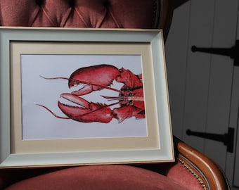 Watercolour & Ink LOBSTER Print A4 By VMS (From Original Artwork)
