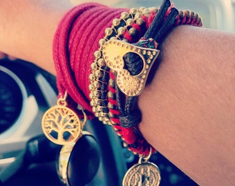 Red and gold bracelet Set. Bracelet set.  Three matching bracelets.