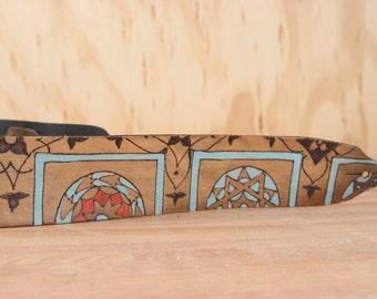 Modèle de courroie - courroie de guitare en cuir - Duomo guitare avec motif géométrique Florence-Inspired