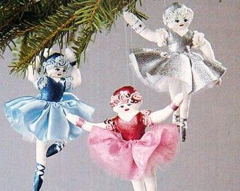 SEWING PATTERN~Ballerina Christmas Ornament~Ballet Dancer Doll~Dolls-Make a Set!~PDF~Instant Download  e-pattern