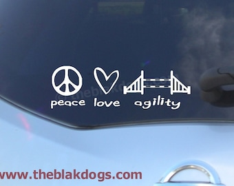Peace Love Agility, Dog Agility, Dog Breed Silhouette, Vinyl Sticker Car Decal