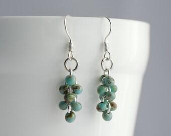 Turquoise Cascade Earrings, Delicate Dangle Earrings, Rain Drop Earrings, Jewellery Gift for Her, April Showers Earrings, Small Earrings