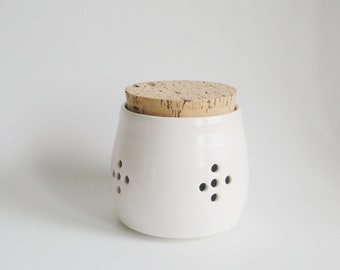 Ceramic garlic jar Housewarming gift ceramic kitchen canisters garlic jar pottery garlic jar handmade ceramic garlic keeper