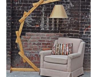 Natural Wood Floor Lamp   Arc Floor Lamp   Floor Lighting   Natural Light  Wood