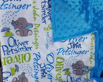 "30""x40"" Personalized Baby Blanket, Monogrammed Baby Blanket, Swaddle, Receiving Blanket, Baby Gift, Nursing Blanket, Elephant Blanket"