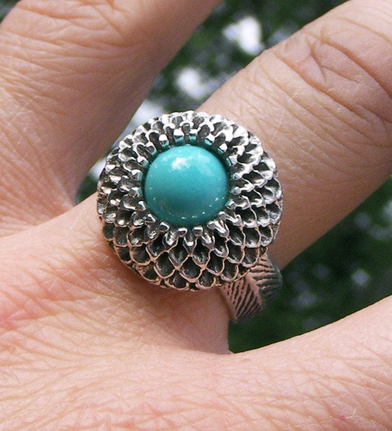 Sterling Silver Chrysanthemum Cocktail Ring with Persian Turquoise Center-Size 6.75. Ready to Ship.