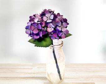 Paper Hydrangea Stem in Purple   Paper Flowers