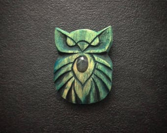Wooden brooch An Owl