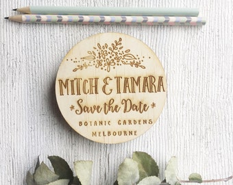 Save the date - Rustic Wedding Invitation - Australian made Wood/timber engraved Circle floral flowing