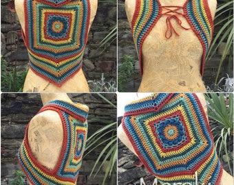 Snow Day Vest, Crochet Waistcoat, Crochet Vest OOAK, Rainbow Vest