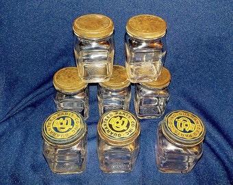 Jars, Set of Eight (8) Guaranteed Parts Co. Jars, Automotive Parts Jars, Square Jars, 1930's