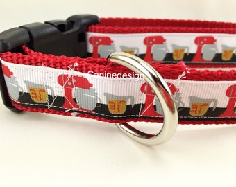 Dog Collar, Baking, 1 inch wide, adjustable, quick release, metal buckle, chain, martingale, hybrid, nylon