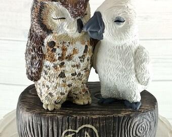 Owl and Cockatoo Wedding Cake Topper - Custom on a Stump
