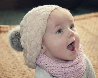 Baby Slouch Hat with Pom Pom, Boho Baby, Infant Slouch Beanie, Knit Baby Hat, Baby Beanie, Winter Baby