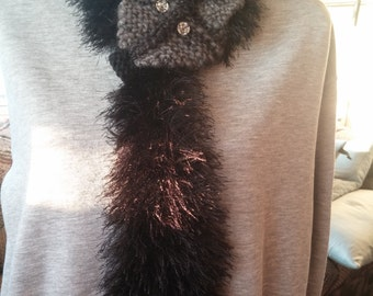 fuzzy black cat scarf