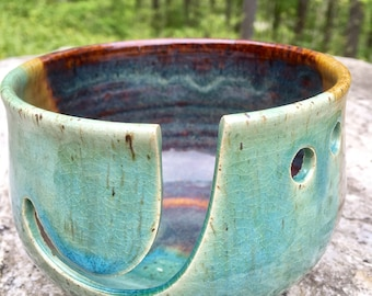 Aqua Green and Mahogany Ceramic Yarn Bowl