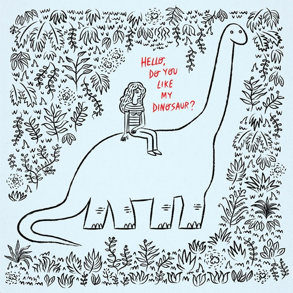 Hello, Do You Like My Dinosaur? - Limited Edition Art Poster Print by Oliver Lake - iOTA iLLUSTRATiON