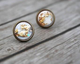 White Gold Flake Earrings, Christmas Gift for Her, Gift for Women, Womens Earrings, Gold Earrings, Stud Earrings, Birthday Gift