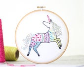 Unicorn Embroidery Kit - Embroidery Design - Nursery Decor - Hand Embroidery - Hoop Art - DIY Kit - Modern Embroidery - Adult Craft Kit