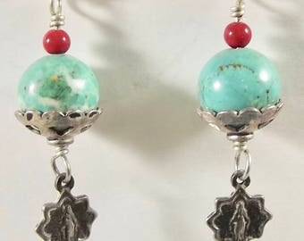 Sterling Silver Catholic Miraculous Medal Earrings with Faux Turquoise and Sterling Silver Beadcaps